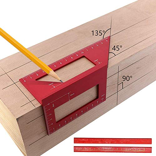 3D Mitre Angle Measuring Tool, Aluminum Measuring Square Ruler, T Shape Woodworking Ruler for Saddle Layout, Multifuction 45/90°Angle Measure Tool for Carpenters with 2 Pencils(Red)
