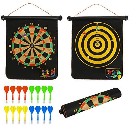 Magnetische Dartscheibe, Indoor Outdoor Dart-Spiele für Kinder mit 16 Stück Magnetische Darts, Sicherheitsspielzeugspiele, Rollup Doppelseitiges Brettspiel Familienspaßgeschenk für Kinder Erwachsene