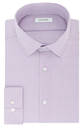 Calvin Klein Men's Dress Shirt Slim Fit Non Iron Gingham, Dusty Lavender, 15.5' Neck 32'-33' Sleeve (Medium)