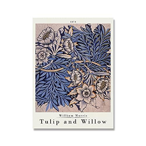 Carteles e impresiones de la exposición de William Morris, flores de colores, hoja de rosa, metro de Londres Art Nouveau, lienzo sin marco A3 50x75cm