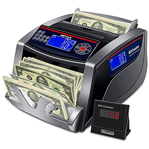 WETOLS Money Counter with Counterfeit Bill Detection UV/IR/DD/MG/MT, 3 Displays, 5 Modes Add/Batch/Auto/Count/Restart, Bill Counter 1,000 Notes per...
