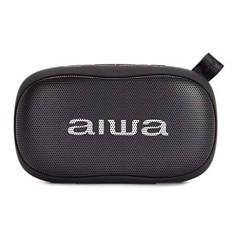 Aiwa BS-110BK: Altavoz Bluetooth portátil, Resistente a la Humedad, pensado para Deportes Exteriores, Color Negro
