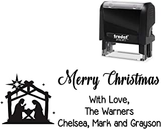 Customized Self-Inking Rubber Stamp, Merry Christmas with Love. with Nativity Scene Image - Large 4 Line DIY Stamper, Change All Wording. Select Different Ink Colors.