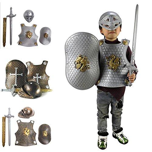 Disfraz De Caballero Medieval Juguetes - Knight Armour Para Niños (Casco + Espada + Escudo + Armadura) Niños Disfraz De Halloween Disfraces De Fantasía