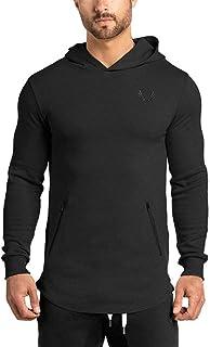 [Manatsulife]パーカー スウェットシャツ 無地 長袖トレーナー メンズ フィットネスウェア フード付き