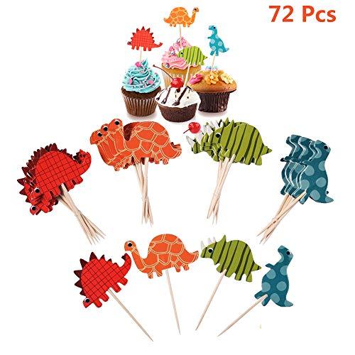 Torte Topper Cupcake Stäbchen für Dino Party , Muffins Deko Dinosaurier Cupcake Picks Tortenstecker für Mädchen Junge Baby Kinder Geburtstag Dekoration ,Kuchen Topper für Hochzeit , 72 Stück