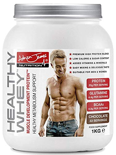 Adrian James Nutrition Healthy Whey Protein Powder for Men Women Premium Grade Whey Protein Shake with BCAAs Glutamine Magnesium Zinc Vitamin D B6 Chocolate Flavour 33 Servings 1 kg