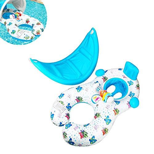 MYRCLMY Baby-Pool Tragbares Schwimm-Ansatz-Ring Mit Markise, Aufblasbares Sicherheits Schwimmdock Sitz Für Kinder Und Mütter, Doppel Eltern-Kind-Boot 0-3