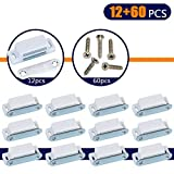Coardor Cupboard Magnetic Door Catch for Cabinet 12 in 1 Kit Screws 60pcs Heavy Duty Magnet Catches Kitchen Latch Small Home Furniture Wardrobe 6kg Pull Strong White