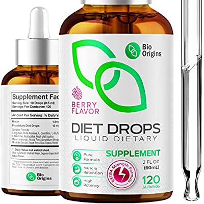 Bio Origins Drops for Women & Men, Diet Drops for Weight Management, Key Active Ingredients Niacin and Powerful Extracts, Hormone-Free HCG-Free Extra Strength Formula, 2 Fl Oz
