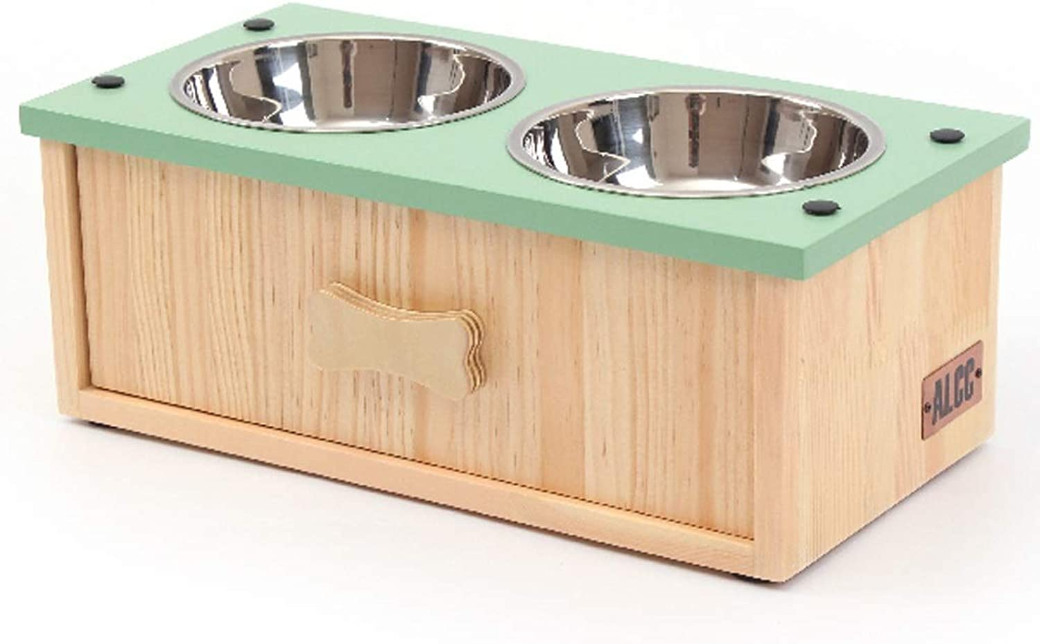 Elevated Dog Cat Bowls with Drawer Design,Stainless Steel Feeding Stations,Raised Pet Feeder Solid Wooden Stand Perfect for Cats and Small Dogs (color   Green, Design   B)