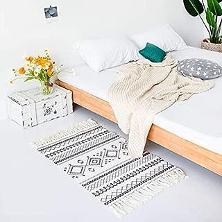 LEEVAN Moroccan Cotton Area Rug,Hand Woven Cream Chic Diamond Print Tassels Throw Rugs Door Mat,Indoor Area Rugs for Bathroom,Bedroom,Living Room,Laundry Room,2 ft x 3 ft