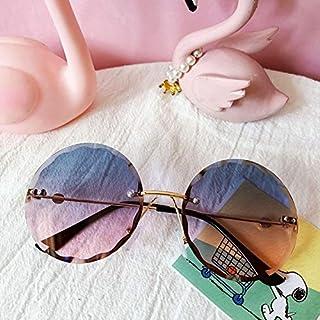 Xingxing - xingxing Gafas de sol para niños con montura redonda de metal sin montura para niños, gris, rosa, azul, a la moda, protección UV400, color verde y rosa