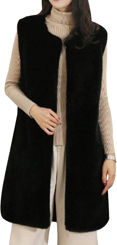 HIENAJ Women's Long Winter Faux Fur Vest Warm Luxury Solid Sleeveless Jacket Outwear