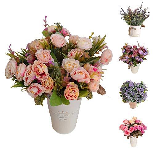 Flores Artificiales Roses Decoración Hogar Jardín Hotel Tienda Ideal para la Boda Fiestas Eventos (Rosa, Pack 3 Ramos)