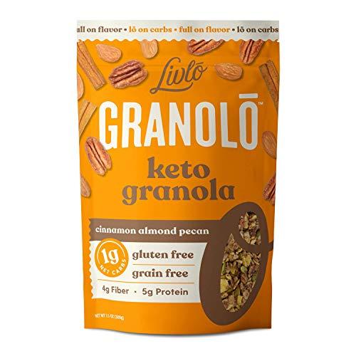 Livlo Keto Nut Granola Cereal - 1g Net Carbs - Grain Free & Gluten Free - Perfect Keto Friendly Low Carb Healthy Snack - Paleo & Diabetic Friendly Food - Cinnamon Almond Pecan, 11oz