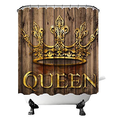 Rustikaler Queen Duschvorhang Gold Tiara mit Holzhintergr&, Badewannen-Vorhang, Stoff, Badezimmerdekoration für Bauernhaus-Haken, 182,9 x 182,9 cm