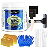 Triple Thick Gloss Glaze by DecoArt, 8-Ounce, Pixiss Accessory Kit with Brayer, Gloves, Spreaders, Brushes