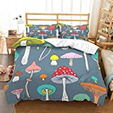 PATATINO MIO 100% Microfiber Mushrooms Bedding Full 3D Yellow/Blue/Orange/Red/Pink Mushrooms Bedspread Cartoon Duvet Cover Set for Boys Girls Kids 3 Pieces with 2 Pillowcase