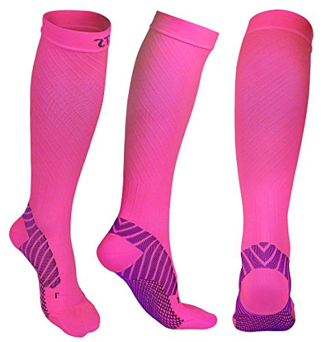 Compression Socks 20-30 mmHg for Men and Women, Graduated Athletic Compression Stockings Knee High for Running Nurse Pregnancy Flight Circulation Recovery(Size L, Rose)