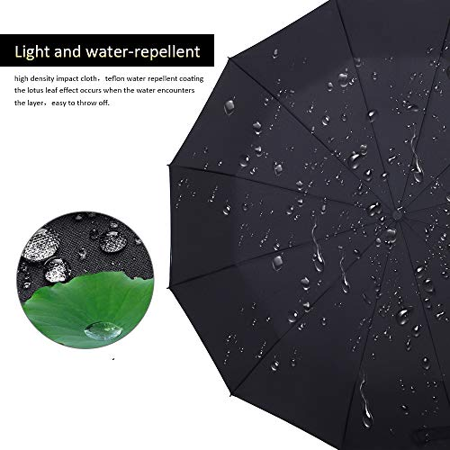 Bodyguard Inverted Umbrella, Windproof Umbrella, 12 Ribs Reverse Umbrella with Reflective Stripe, Teflon Umbrella in Rain and Sun for Women and Men
