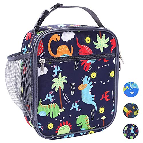 Lunch Bag for Kids, Dinosaur Insulated Lunch Box Snack Box with Strap & Side Mesh Pocket, for Boys Girls, Child Thermal Tote Cooler Bag Portable Leak Proof for School Picnic Outdoor or Work