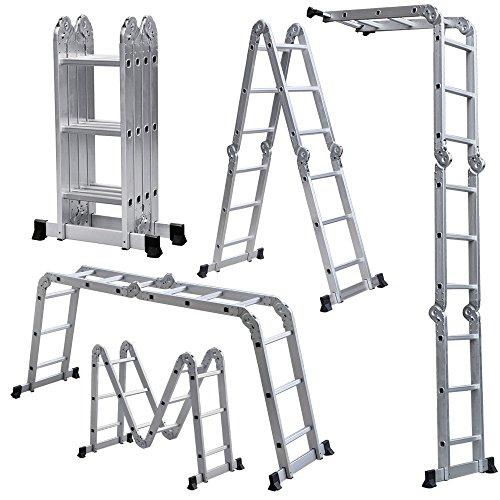 ALEKO FL-12 Multi-Purpose Multiple Position Heavy Duty 12 Step Aluminum Folding Ladder