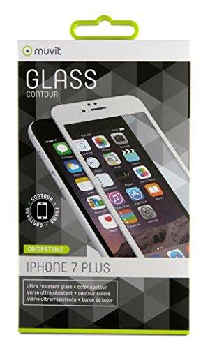 Muvit - Protector de Pantalla (Tempered Glass, 0,33mm, Curvo 3D, Marco Blanco, nanofilm, para Apple iPhone 8 Plus/7 Plus)