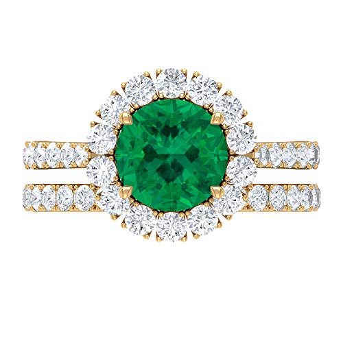 8 MM Green Tourmaline Ring, D-VSSI Moissanite Halo Ring, Solitaire Ring with Side Stones, Gold Half Eternity Band for Women, 18K Yellow Gold, Size:UK I