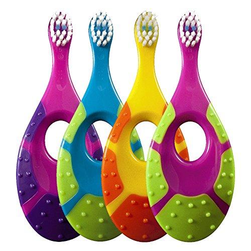 Jordan 6220100 Baby Zahnbürste Step 1 mit Beißring, 0-2 Jahre, extra soft, Stück:8 Stück