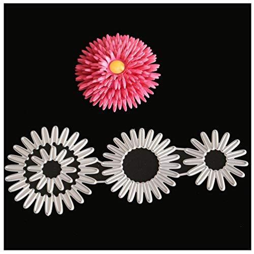 Kaiboo Troqueles para álbumes de Recortes, Scrapbooking Cortar Plantillas Troquelación Kit, Se Aplica a Sizzix Big Shot Embossing Máquina(Solid Small Chrysanthemum)