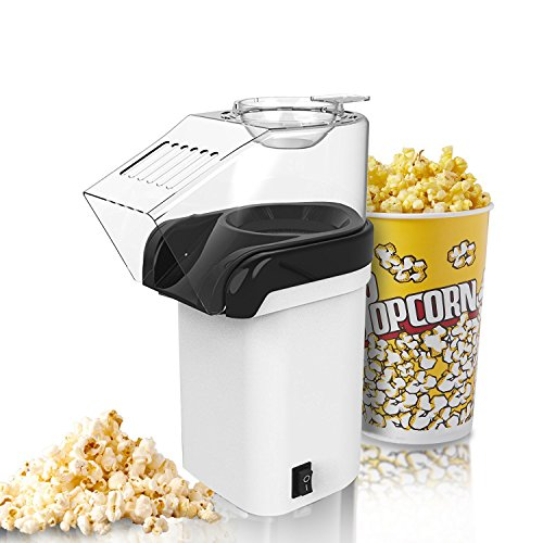 Macchina per Popcorn, Foneso Popcorn Poppers ad Aria Calda senza Olio in Bianco, con Potenza di 1200W e Design a Bocca Larga, include Misurino e Coperchio Rimovibile