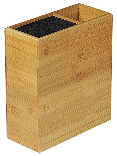 KESPER 58027 Messerblock unbestückt mit Utensilienbox aus Bambus/Universalmesserblock/Messerhalter/Utensilienhalter