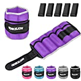 Henkelion 1 Pair 20 Lbs Adjustable Ankle Weights for Women Men Kids, Strength Training Wrist and Ankle Weights Set for Gym, Fitness Workout, Running, Lifting Exercise Leg Weights - Each 10 Lbs Purple