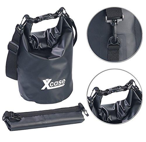 Xcase Strandtasche: Wasserdichter Packsack, strapazierfähige Industrie-Plane, 5 l, schwarz (Wasser Sport-Sack)