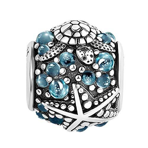 Sug Jasmin Ocean Starfish Sea Turtle Dangle Charms Beads for European Charm Bracelets