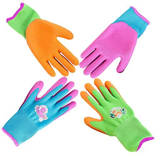 GRÜNTEK Kinder-Gartenhandschuhe XXXS / 3XS (Größe 4), Set mit 4 Paar Schutzhandschuhe, rutschfeste Latexbeschichtung, BPA-frei, geprüft und zertifiziert nach EN 420 & EN 388
