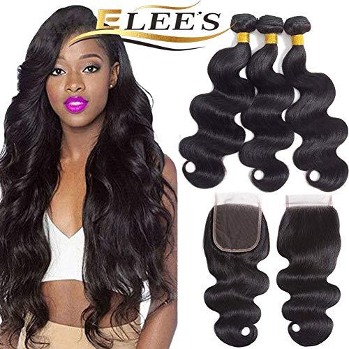ELEE'S HAIR Brasilianische Echthaarbündel mit Verschluss Körperwelle Natürliche Farbe 100% Echthaarbündel Echthaarbindung Doppelschuß Remy Hair (16 18 20+14 4 * 4)