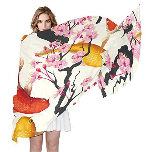 QMIN Schal, japanischer Koi, Fisch, Kirschblüte, modisch, lang, leicht, für Damen und Mädchen