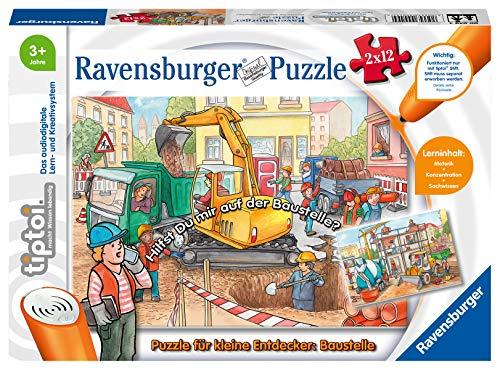Ravensburger tiptoi 00049 - Puzzle für kleine Entdecker: Baustelle / 2x12 Teile Puzzle von Ravensburger ab 3 Jahren