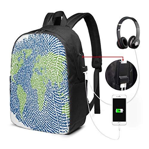 Schulrucksack-Taschen mit USB-Ladeanschluss und Kopfhöreranschluss, Karte des Weltfingerabdruck-Stils setzt EIN Europa Afrika Amerika, 17 Zoll Fort