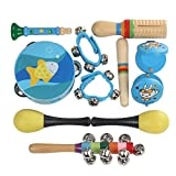 Musical Instruments Set ,Wooden Percussion for Kids-10Pcs,Preschool Educational Early Learning Instruments Sets Hand Bells Tambourine Toy (Blue)