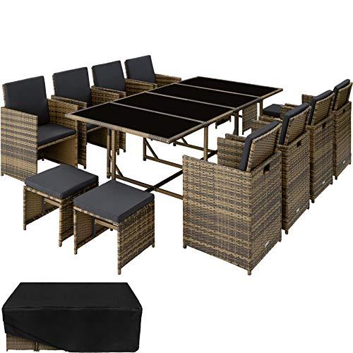 TecTake 800823 Poly Rattan 8+4+1 Sitzgruppe, 8 Stühle 4 Hocker 1 Tisch, als Würfel verstaubar, inkl. Schutzhülle & Edelstahlschrauben (Natur | Nr. 403729)