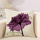 Funda de cojín decorativa con estampado de flores para el sofá, duradera, para el salón, diseño de flores, color lila