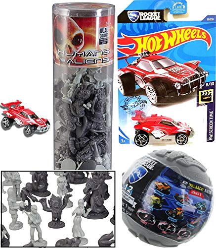 Hot Wheels League Rocket Alien Attack Pack Sci-Fi Action Battle Bundled with Space Monster Aliens + Human Army Mini Figures + Pull Back Racer Blind Ball Items