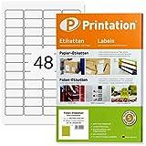 Etiquetas 45,7 x 21,2 mm, resistentes a la intemperie, transparentes, en hojas A4, 4 x 12 etiquetas/página, 1200 etiquetas de 45,7 x 21,2 mm, autoadhesivas, imprimibles con impresora láser (25)