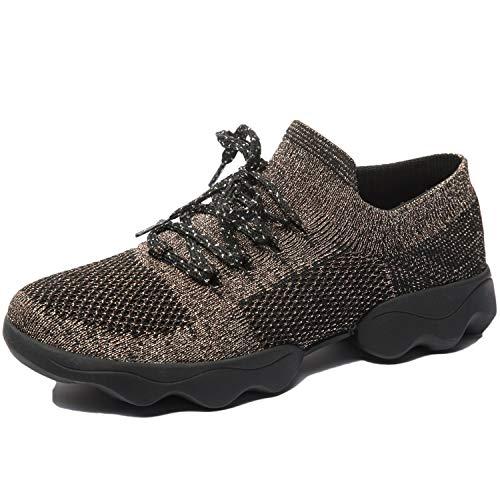 Mujer Zapatos de Baile Zapatillas de Baile Modernos Zapatos Deportivos Gym Cómodas y Transpirables Marrón 38