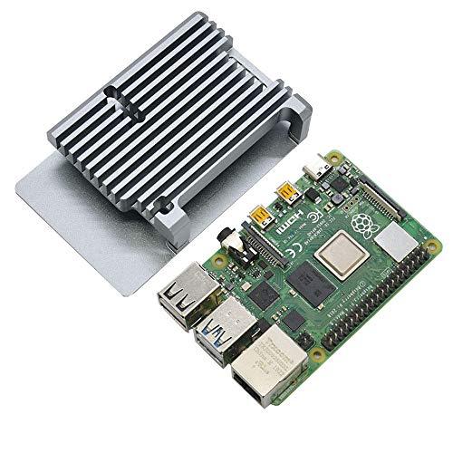 xingxing 4G RAM RPi 4B placa base con accesorios electrónicos de aleación de aluminio CNC, negro, gris, azul, rojo, dorado, plateado (color: gris)