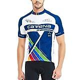 CATENA Men's Cycling Jersey Short Sleeve Shirt Running Top Moisture Wicking Workout Sports T-Shirt Black (Blue-17, L)