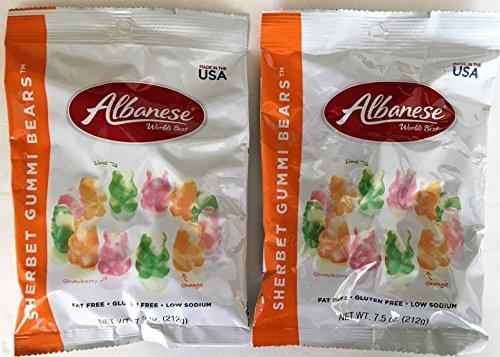 Albanese Worlds Best Gummi Bears Sherbet Flavors 7.5 Ounce Bag (Pack of 2)